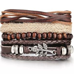 Mixed Wrap Stackable Leather Bracelet | Leaf
